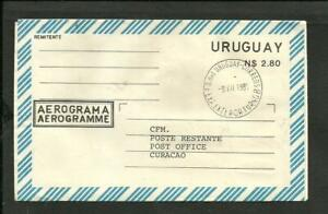 URUGUAY-1981-AEROGRAMME-LA-CARRETA-TO-CURAZAO-VERY-RARE