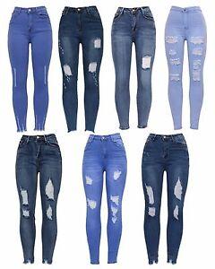 New-Women-High-Waist-Blue-Stretch-Knee-Cut-Distressed-Skinny-Slim-Fit-Denim-Jean
