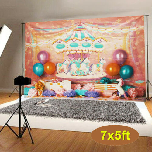 Unicorn Carousel Wall Vinyl Photography Background Studio Photo Props Backdrops