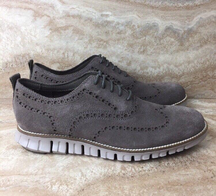 Cole Haan ZeroGrand Wingtip Gray Oxford Dress Shoes Gray Wingtip Suede Cobblestone 11c613