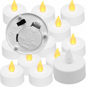 Amber Tea Light 12 Pack Battery Operated Tealight Candles No Flame Set Of Ebay