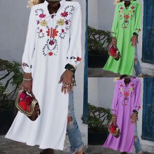 ZANZEA-Women-039-s-Long-Sleeve-Floral-Print-Shirt-Dress-High-Split-Holiday-Cover-Up