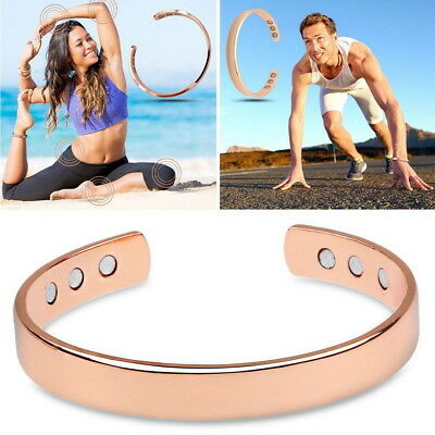 <b>Rose Gold Copper</b> Bracelet Unisex Therapy Healing Magnetic ...