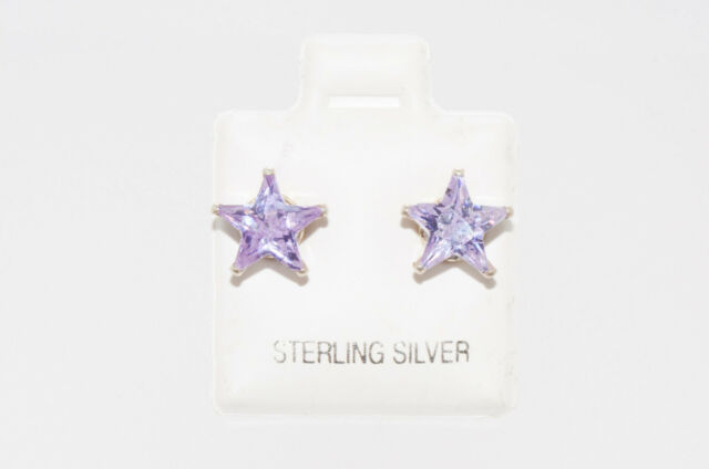 Sterling Silver Lavender Star Earrings CZ June Birthstone Studs