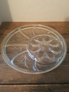 Vintage-Deviled-Egg-Relish-Tray-Indiana-Glass-Divided-Plate-13-034-Platter-Dish