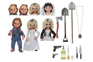 Bride-of-Chucky-7-034-Scale-Action-Figure-Ultimate-Chucky-amp-Tiffany-2-Pack-NECA