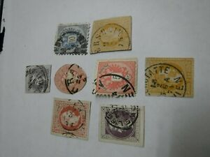 Lot-of-8-Austrian-Stamps-Some-Hand-Cut-Newspaper-Kreuzers