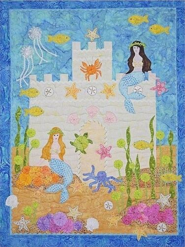 """New Pieced and Applique Quilt Pattern  MERMAIDS/' CASTLE  25/"""" X 32.5/"""" Wallhanging"""