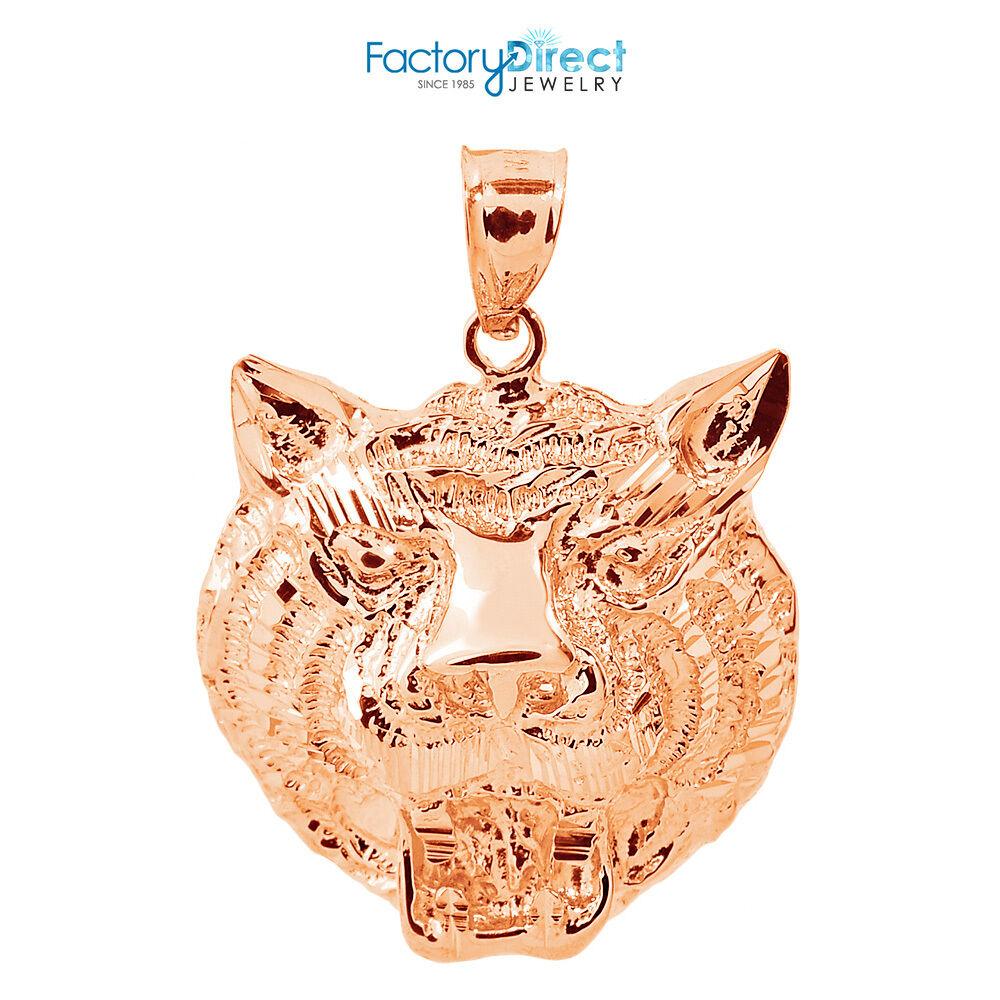 14k pink gold Diamond Cut Tiger Head Charm Pendant