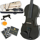 MENDINI SIZE 3/4 SOLIDWOOD VIOLIN METALLIC BLACK +TUNER+SHOULDERREST+BOW+CASE