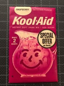 VINTAGE 1960's KOOL-AID FULL PACK Sealed Mip RASPBERRY old stock w SPECIAL OFFER