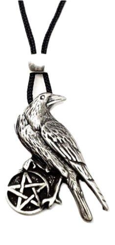 Crow Raven Pentáculo Colgante collar con cuentas Cordón Pagano Wicca Joyería del estaño