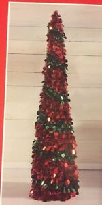 Image Is Loading 5 Ft Red Green Tinsel Christmas Tree Pop