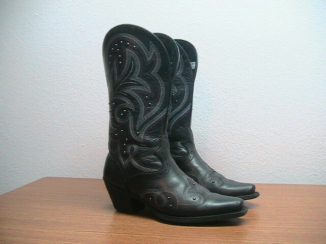 Womens Sassy 7 B Ariat Spellbound Sassy Womens Black Leather Studded Western Cowboy Boots be3205