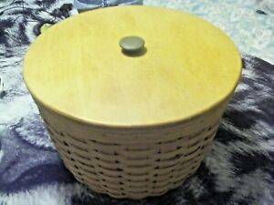 1993-Longaberger-Large-Corn-Basket-w-Protector-amp-Wood-Lid-17-x-17-x-11-FreeShip