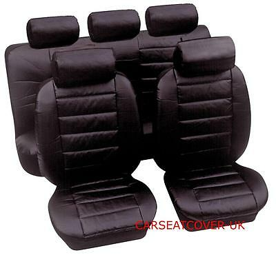 Red Black Soft Supple Quilted Leather Look Airbag OK Car Seat Covers Full Set
