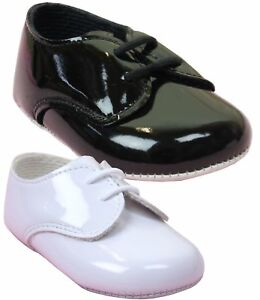 d7b90794ce6d Image is loading BabyPrem-Baby-Boys-Patent-BayPods-Pram-Shoes-White-