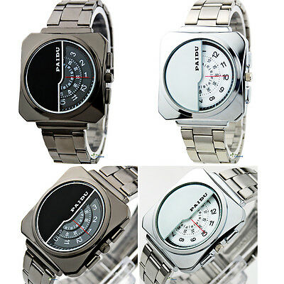 Wrist Watch Men's Fashion Luxury Stainless Steel Analog Quartz Square New Band