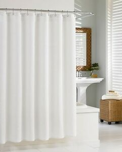 Fabric-Shower-Curtain-Plain-White-All-Sizes-With-Weighted-Hem-amp-With-Hooks-Rings