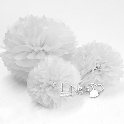 Mixed 3-Sizes Tissue Paper Pom-Poms Flower Ball Wedding Party Home Decoration
