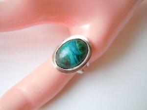 925-Sterling-Silber-Ring-mit-gruenem-Tuerkis-Cabochon-Gr-55-Verstellbar-4-5-g