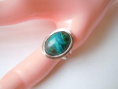 925 Sterling Silber Ring Mit Grünem Türkis Cabochon Gr 55 verstellbar /4,5 G
