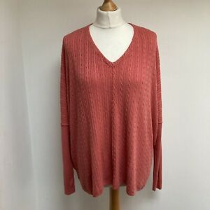 MARLA-WYNNE-Cable-Knit-Jumper-Sweater-Size-XL-Faded-Rose-Coral-Pink-Long-Sleeve