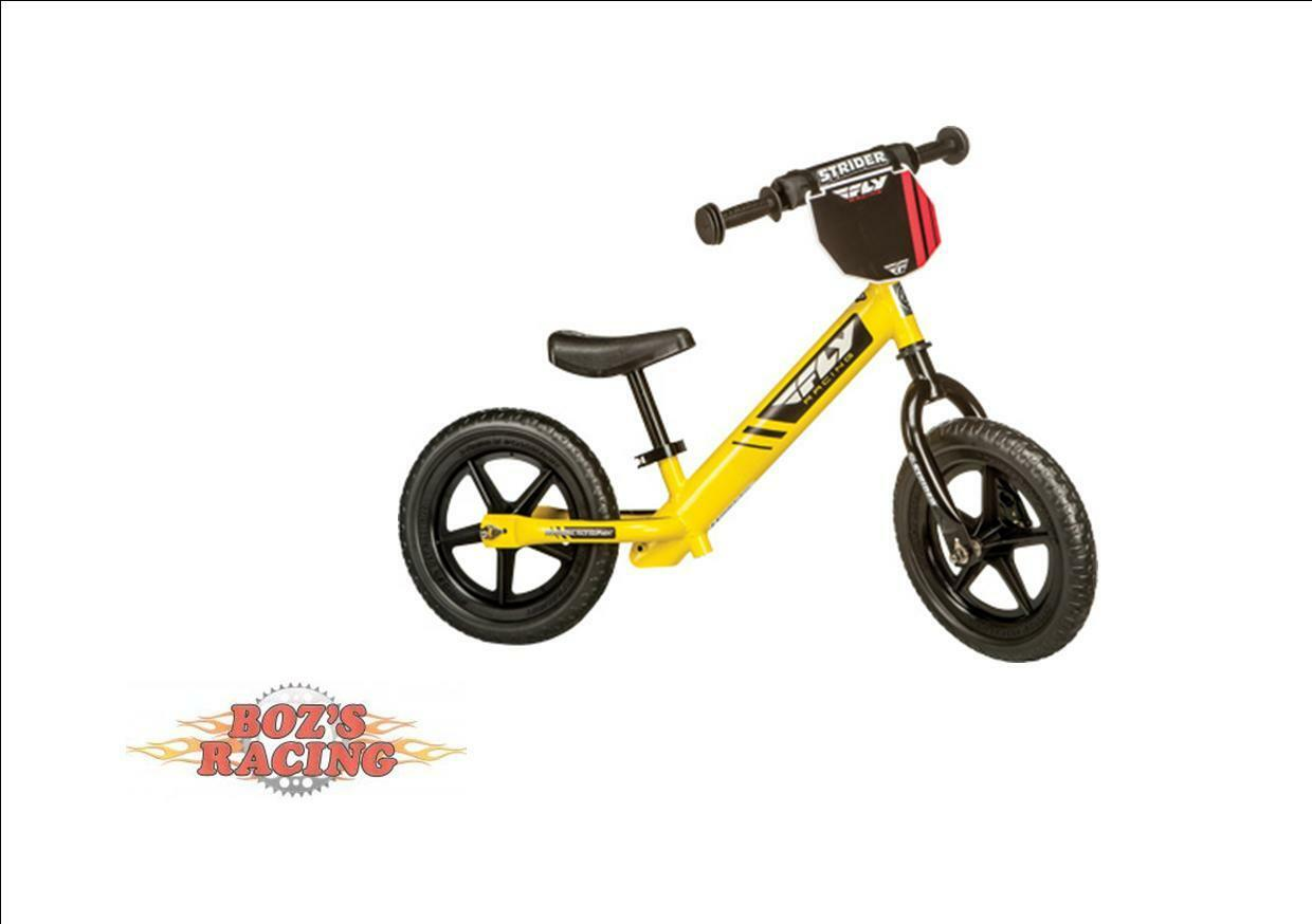STRIDER 12 SPORT NO PEDAL BALANCE BIKE FLY RACING EDITION YELLOW W NUMBER PLATE