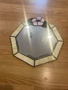 VINTAGE OCTAGON Floral STAINED GLASS  MIRROR