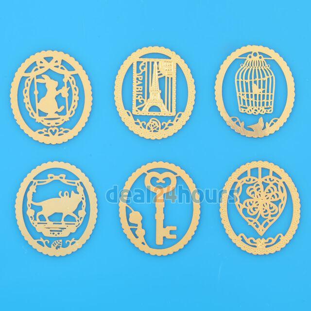 6Pcs Heart Key Cage Mini Reading Gold Metal Clip Bookmark Book Mark