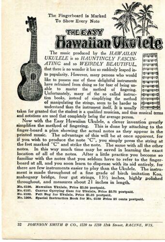 1926 small Print Ad of The Easy Hawaiian Ukulele