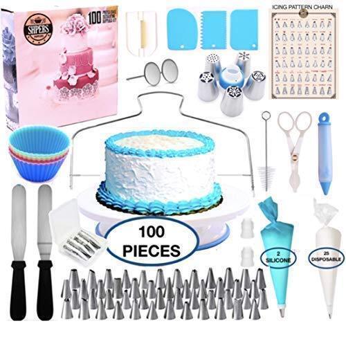 Cake Decorating Supplies Kit-100 PCS Baking Supply Set Rotating Turntable 48