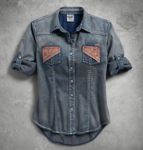 Origine Harley-Davidson jean léger rouleau étiquette winged chemise 96311-16VW