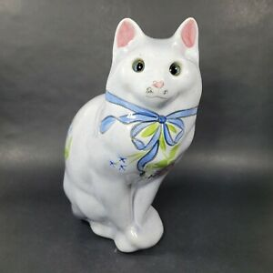 Vintage NS GUSTIN CO. Hand Painted Ceramic CAT FIGURINE Made in the USA