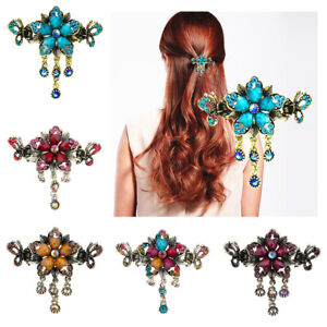 Retro-Crystal-Hair-Claw-Clip-Jaw-Flower-Pin-Grip-Clamp-Metal-Fringe-Headwear