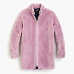 J Crew Zip Up Plush Fleece Coat Teddy Cocoon Smoky