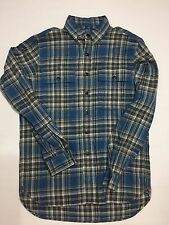 POLO RALPH LAUREN MENS BUTTON DOWN SHIRT COTTON FLANEL BLUE PLAID SMALL
