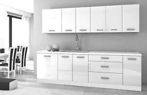 White Gloss Kitchen 8 Units On Legs Cabinets Set Modern Soft Close Hinges Ebay