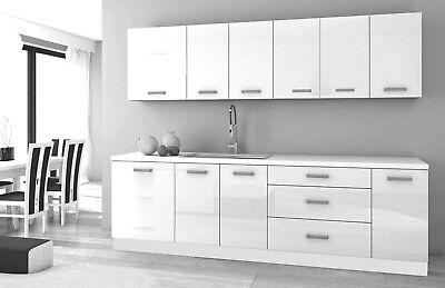 Cheap High Gloss Kitchen 8 Units On Legs Cabinets Set Modern Soft Hinges Ebay