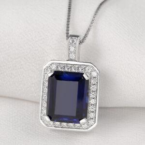 Women-Emerald-Blue-Sapphire-White-Cz-925-Sterling-Silver-Pendant-Chain-Necklace