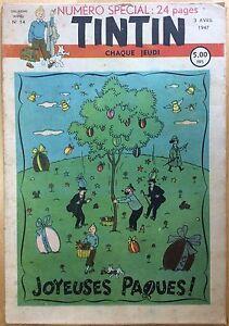 TINTIN-Edition-belge-fascicule-n-14-du-3-avril-1947-Bon-etat