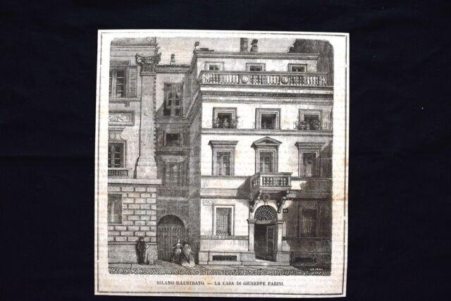 Milano - La casa di Giuseppe Parini, poeta italiano Incisione del 1869
