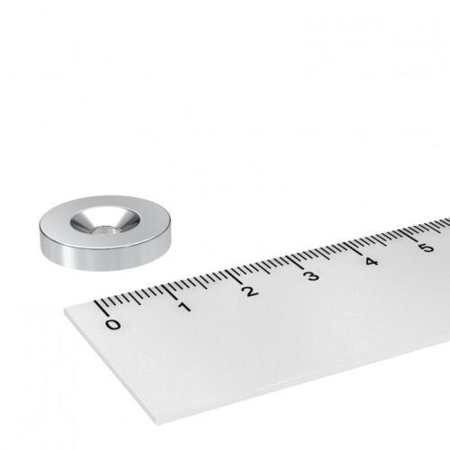 5 STÜCK 20x4 mm NEODYM SCHEIBEN MAGNET MIT 4.5mm BOHRUNG UND SENKUNG WERKSTATT