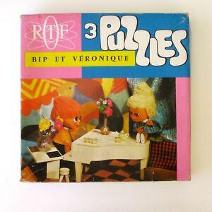 Ancien-jeu-de-Societe-3-PUZZLES-BIP-ET-VERONIQUE-ORTF-Complet-Vintage