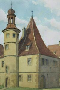 Gustav-Mueller-Aquarell-Hegerreiterhaus-in-Rothenburg-o-D-Tauber-Juli-1974