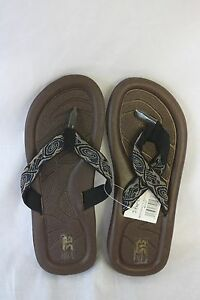 STAR-Bay-Sandals-Black-With-Printed-Fabric-Straps-NEW-SZ-11