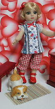 "Fits 10"" Patsy Tonner Doll . Blue/Red Tunic & Long Gingham Bloomers Set...D341"