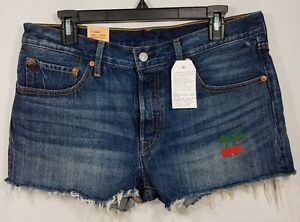 New-Levi-039-s-501-Women-039-s-Denim-Jean-Shorts-Distressed-Cherry-Embroidered-Size-31