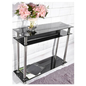 Glass-Console-Table-Clear-or-Black-Glass-Chrome-Legs-2-Tier-Modern-Hall-Table-UK