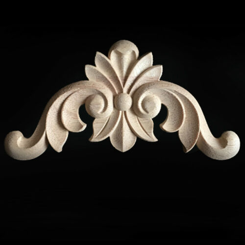 4pcs Wood Carved Corner Onlay Applique Unpainted Frame Decal Home Furniture Deco
